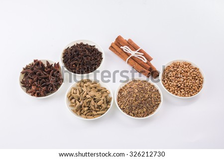 Assortment spice,cinnamon,clove and star anise,cardamom,cumin seed and coriander seed in white bowl over white background  - stock photo