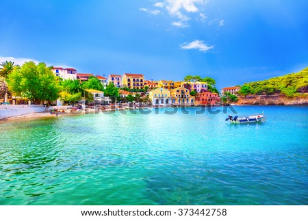 Assos beach in Kefalonia, Greece - stock photo