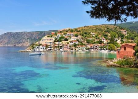 Assos beach, Kefalonia, Greece - stock photo