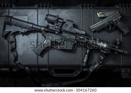assult rifle AR15 and pistol gun - stock photo