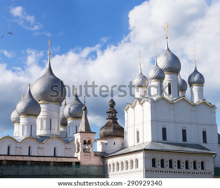 Assumption Cathedral, Holy Gates and the Resurrection Church with belfry - the view from the bishop's courtyard of the Kremlin of the Rostov Veliky(the Great)  on a sunny day. Golden Ring of Russia. - stock photo