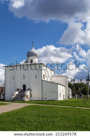 Assumption Church at the Trade Courtyard in Veliky Novgorod, Russia. The church was originally designed to follow the traditional princely style of the early 12th century.