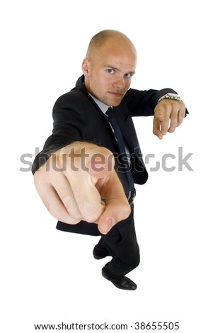 assured businessman pointing at you. isolated on white. wife angle