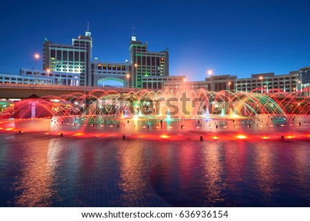 Astana cityscape. Colorful fountains. Astana is the capital of Kazakhstan