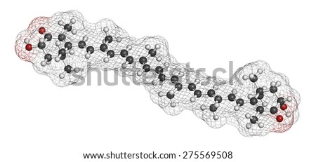 Astaxanthin pigment molecule. Carotenoid responsible for the pink-red color of salmon, lobsters and shrimps. Used as food dye (E161j) and antioxidant food supplement. Atoms are represented as spheres  - stock photo