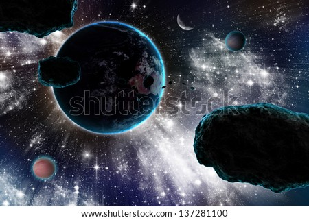 Asteroid and Earth - stock photo