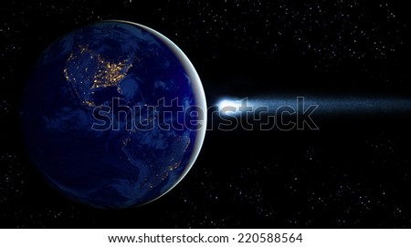 Asteroid and Earth. Elements of this image furnished by NASA.