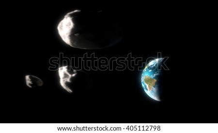 Asteroid approaching the earth - stock photo