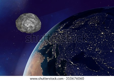 Asteroid approaching to the Earth on background with stars, the Earth from space showing Europe in night, elements of this image furnished by NASA. Space background. Fantastic background - stock photo
