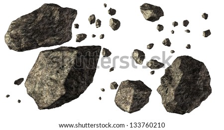 Asteroid Field isolated on white - stock photo