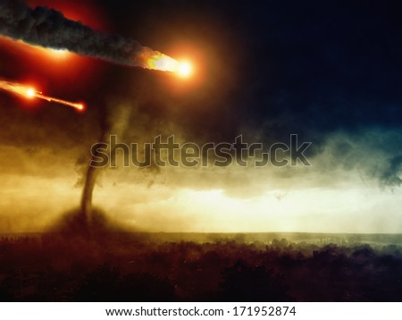Asteroid impact, huge tornado hits small town, dark stormy sky, armageddon and hell. Elements of this image furnished by NASA - stock photo