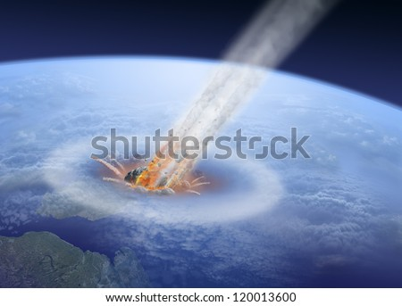Asteroid impact on Earth - stock photo