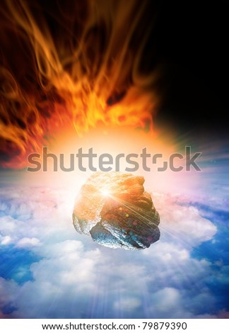 Asteroid or meteor breaking through the earths atmosphere with bright flames and smoke trailing behind it