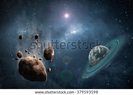 Asteroid's path with green planet somewhere in deep space many thousand light years from Earth.High resolution scientific illustration created from scratch. - stock photo