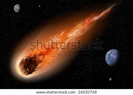 Asteroid with tail of fire flying between planets in space - stock photo
