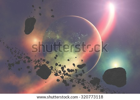 Asteroids on a starry background. Digital illustration. Elements of this image furnished by NASA. - stock photo