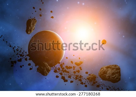 Asteroids with a starry background. Digital illustration. Elements of this image furnished by NASA. - stock photo