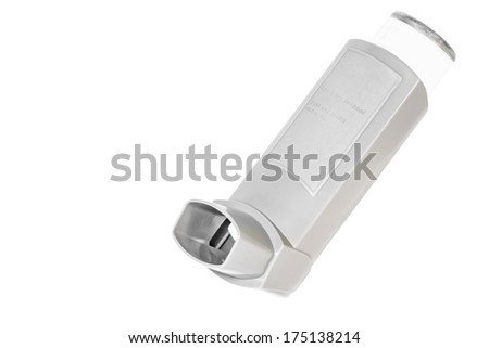 Asthma allergy inhaler sprayer, isolated on a white background. Open, grey color plastic inhaler with usage instructions on container. Room for text, copyspace. Horizontal photo.  - stock photo