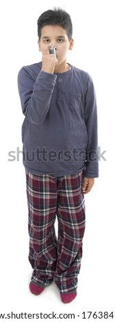 Asthma Child - stock photo