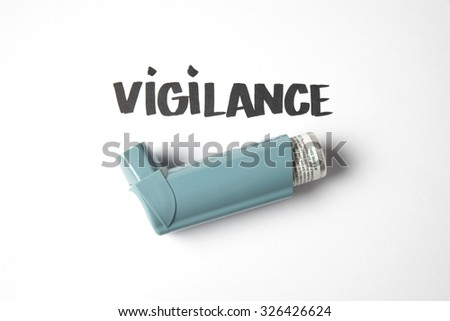 Asthma inhaler and sign