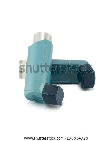 Asthma inhaler isolated on a white background - stock photo