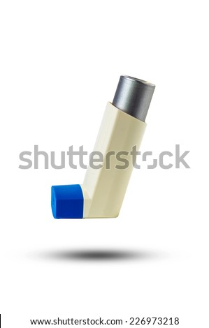 Asthma inhaler isolated on a white background. - stock photo