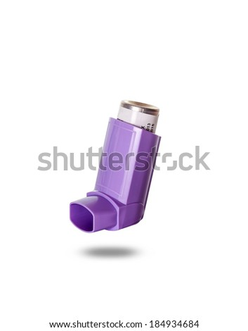 Asthma inhaler isolated on white background  - stock photo