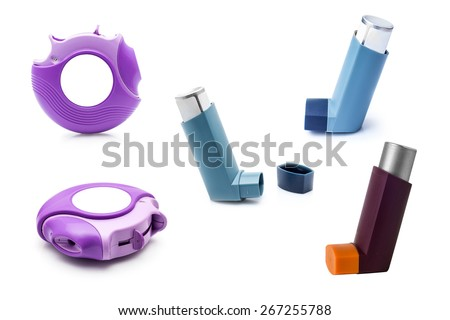Asthma inhalers. Set of inhalers for the treatment of bronchial asthma on a white background. - stock photo