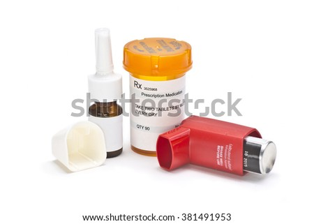 Asthma medication on white background.