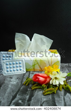 Asthma of allergy relief concept, seasonal allergens - pollen and flowers, copy space - stock photo