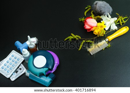 Asthma of allergy relief concept, seasonal allergens - pollen and flowers, pet hair and home dust, copy space - stock photo