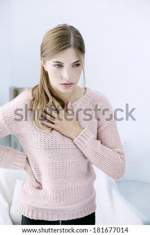Asthma, Woman - stock photo