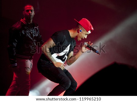 Aston Merrygold from JLS performing at The Girl Guiding BIG GIG 2012, Sheffield Arena, Yorkshire. 06/10/2012 Picture by: Simon Burchell