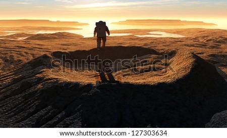 Astonavt around the crater . - stock photo