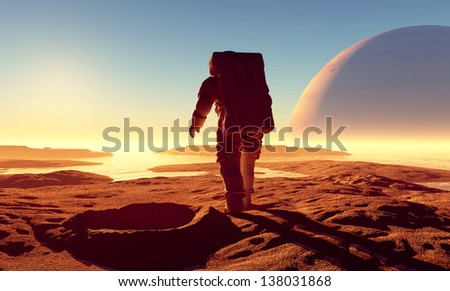 Astonavt around the crater with water. - stock photo