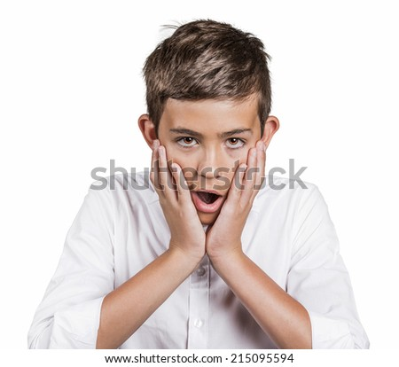 Astonished. Closeup portrait handsome man shocked in disbelief hands on cheeks wide open mouth eyes, isolated white background. Human emotions, facial expressions, feelings, body language, reaction - stock photo