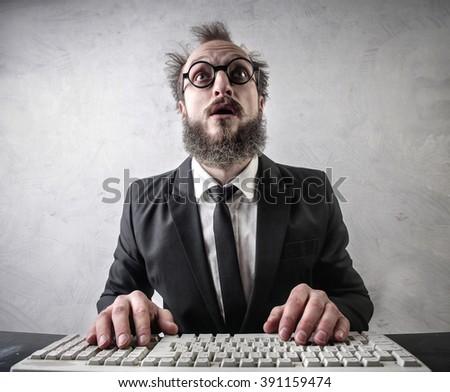 Astonished employee - stock photo