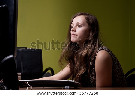 Astonished secretary - stock photo