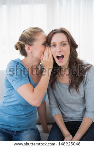 Astonished woman being told a secret by her friend and sitting on the sofa - stock photo