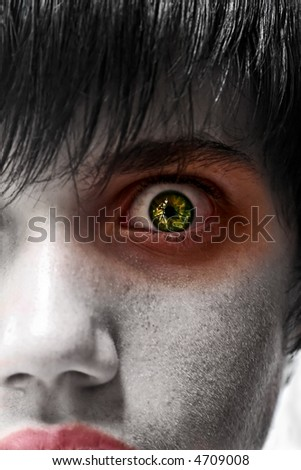 Astonished young man, gothic zombie look, people diversity - stock photo