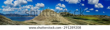 Astonishing  summerly view  of crimean landscape. - stock photo