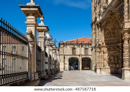 Astorga, Spain - March 27, 2015:  Entrance to the cathedral of Astorga. The town lies along the French route of the Way of St. James