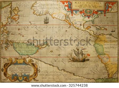 ASTORIA, OREGON - OCT 1, 2015 - Antique map of the Pacific Ocean,  Columbia River Maritime Museum  Astoria, Oregon - stock photo