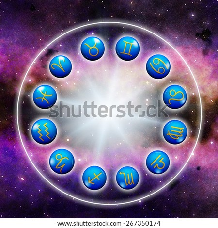 astrological signs in circle around a flare with space background - stock photo