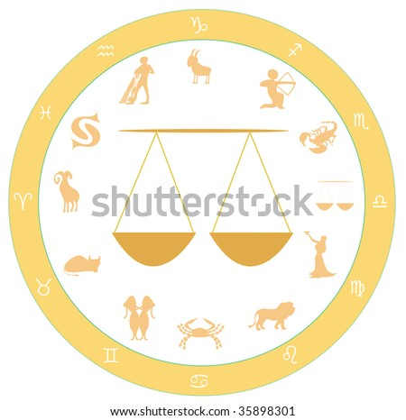Astrological Symbol Zodiac Yellow Symbol Libra Stock Illustration