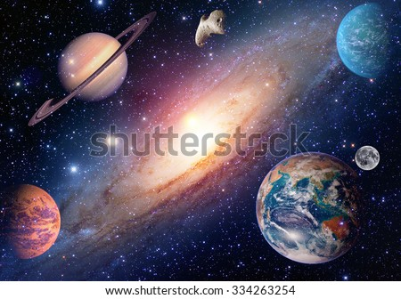 Astrology astronomy earth moon outer space mars saturn solar system planet galaxy. Elements of this image furnished by NASA. - stock photo