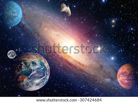 Astrology astronomy earth moon space big bang solar system planet creation. Elements of this image furnished by NASA. - stock photo