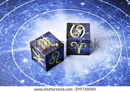 astrology cubes with zodiac signs