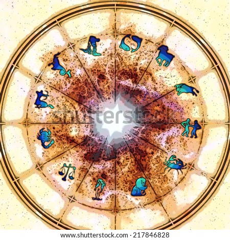 astrology illustration with zodiac signs - stock photo