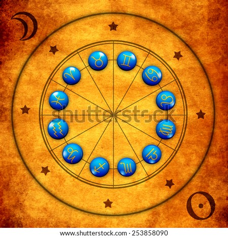astrology illustration with zodiac signs and sun and moon symbols - stock photo